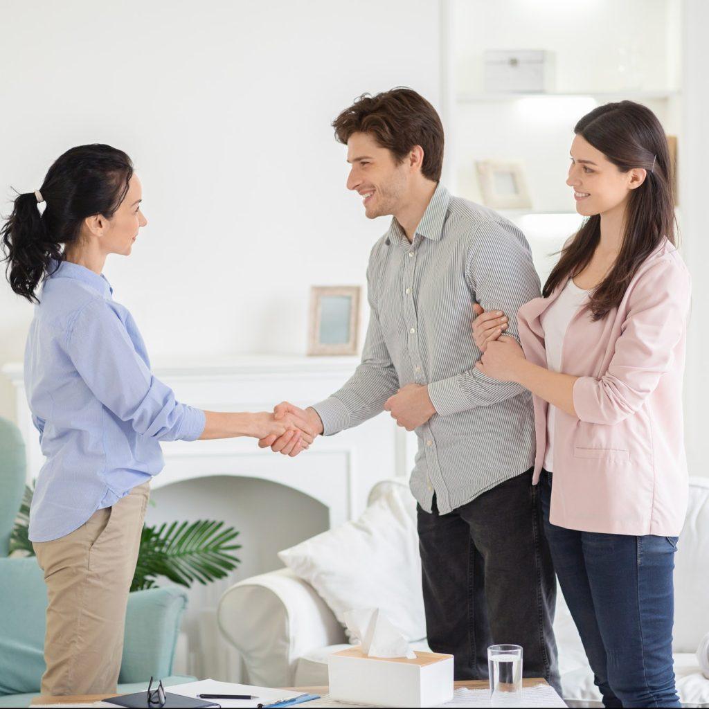 couple handshaking in office